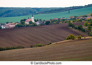 Small village with church at South Moravia in Czechia.