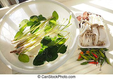 Tom yum spicy raw vegetables with 5 mushrooms - Tom yum...