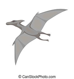 Dinosaur Pterodactyloidea icon in monochrome style isolated...