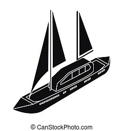 Yacht icon in black style isolated on white background. Transportation symbol stock vector illustration.