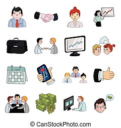 Conference and negetiations set icons in cartoon style. Big...