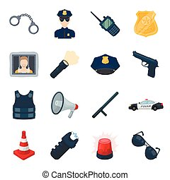 Police set icons in cartoon style. Big collection of police...