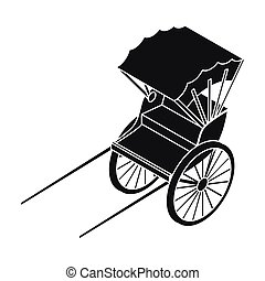 Rickshaw icon in black style isolated on white background....