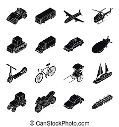 Transportation set icons in black style. Big collection of...