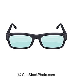 Glasses icon in cartoon style isolated on white background....