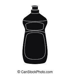 Dishwashing soap icon in black style isolated on white...