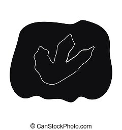 Rock with dinosaur footprint icon in black style isolated on...