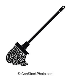 Mop icon in black style isolated on white background....
