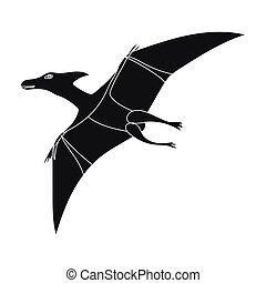 Dinosaur Pterodactyloidea icon in black style isolated on...