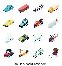 Transportation set icons in cartoon style. Big collection of...