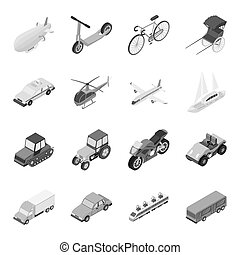 Transportation set icons in monochrome style. Big collection...