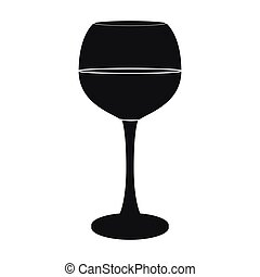 Glass of red wine icon in black style isolated on white...