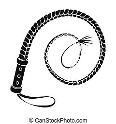 Whip icon in monochrome style isolated on white background....