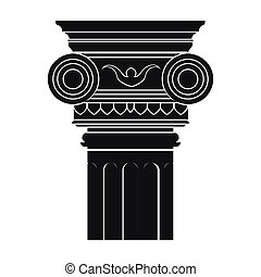 Column icon in monochrome style isolated on white background. Architect symbol stock vector illustration.