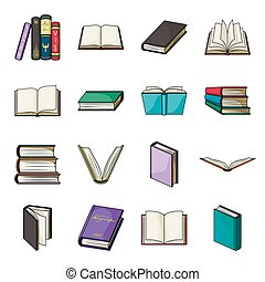 Books set icons in cartoon style. Big collection of books vector symbol stock illustration