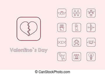 Set of Valentine's Day simple icons - It is a set of...