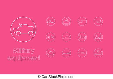 Set of military equipment simple icons - It is a set of...