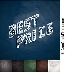 BEST PRICE icon. Hand drawn vector illustration. Chalkboard...