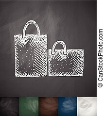 bags icon. Hand drawn vector illustration. Chalkboard Design