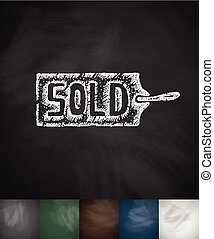 tag SOLD icon. Hand drawn vector illustration. Chalkboard...