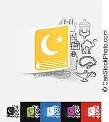 koran paper sticker with hand drawn elements - hand drawn...