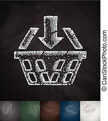 basket icon. Hand drawn vector illustration. Chalkboard...