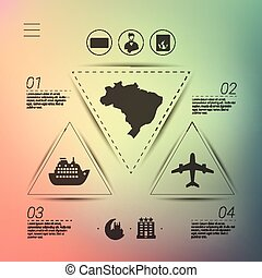 tourism infographic with unfocused background