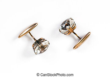 Ancient gold men's cuff links with rock crystal are isolated...