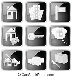 Real estate icon set - Collection of nine different black...