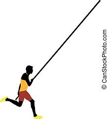 pole vault male athlete colored silhouette