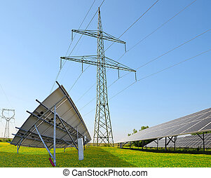 Solar panels with electricity pylons. Concept of sustainable...