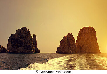 Faraglioni Cliffs in island Capri - Italy, Europe