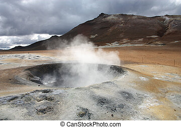 Geothermal activity - Namafjall, Hverir area in Iceland....