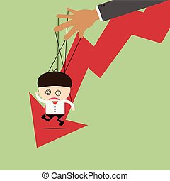 Businessman puppet on ropes and graph down. Business manipulate behind the scene concept
