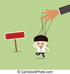 Businessman puppet on ropes in what sounds. Business manipulate behind the scene concept