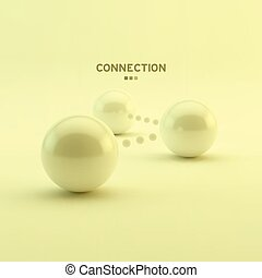 Business vector illustration. Glossy spheres. Connection...