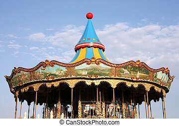 Carousel - Colorful retro carousel in Barcelona. Children...