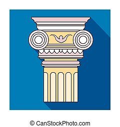 Column icon in flat style isolated on white background. Architect symbol stock vector illustration.