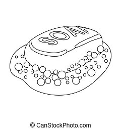Soap icon in outline style isolated on white background....