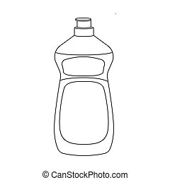 Dishwashing soap icon in outline style isolated on white...