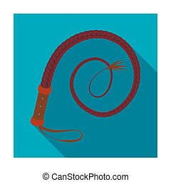 Whip icon in flat style isolated on white background. Rodeo...