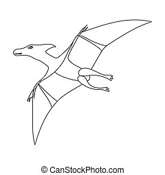 Dinosaur Pterodactyloidea icon in outline style isolated on...