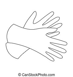 Rubber gloves icon in outline style isolated on white...