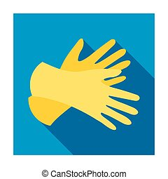 Rubber gloves icon in flat style isolated on white...