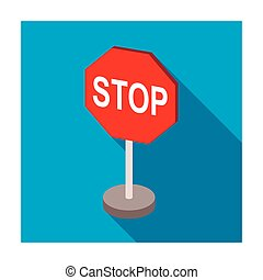 Stop road sign icon in flat style isolated on white background. Road signs symbol stock vector illustration.
