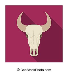Bull skull icon in flat style isolated on white background....