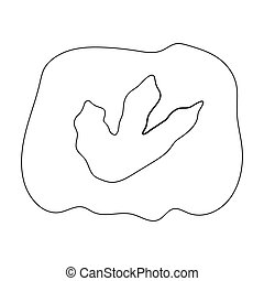 Rock with dinosaur footprint icon in outline style isolated...