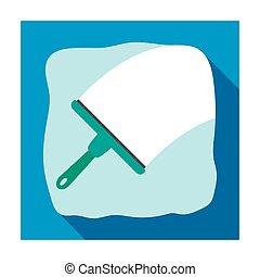 Squeegee icon in flat style isolated on white background....