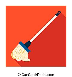Mop icon in flat style isolated on white background....