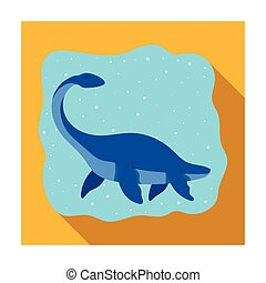 Sea dinosaur icon in flat style isolated on white...